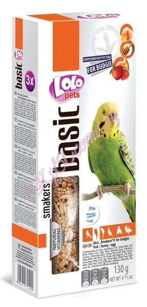 Smakers для волнистых попугаев Микс 3 в 1 фрукты-мед-яйцо Lolo Pets Smakers Budgies Mix 3 in 1 90 г.