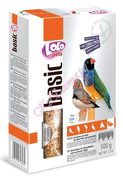 Полнорационный корм для амадин и экзотических птиц LoLo Pets Zebra Finch Exotic Birds Food Complete 500 г.